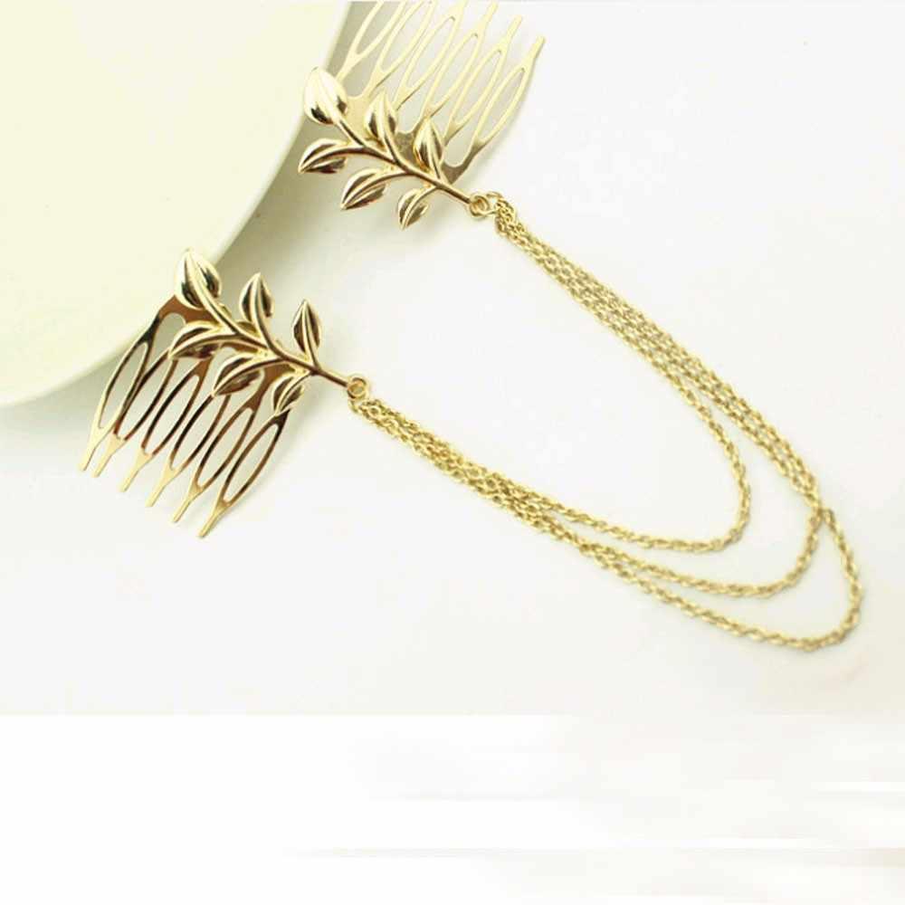 Горячие Дешевые-тонкие винтажные аксессуары для волос двойная золотая цепочка с листовой расческой головкой новые повязки для женщин девушки леди прямая продажа