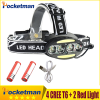 Headlight 35000 Lumen Headlamp 4 CREE XM L T6 2 Cob 2 Red LED Head Lamp