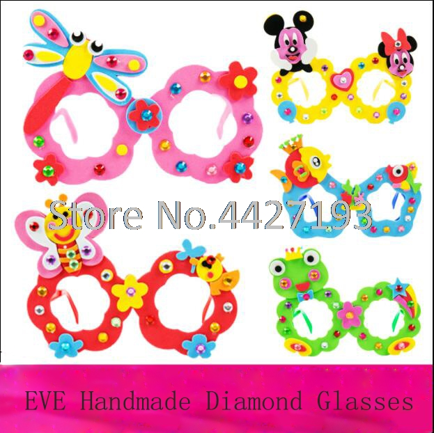 EVA Diamond Glasses Kindergarten Hand DIY Made Material Package 3D Stereo Sticking Toys Children painting kids