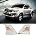 Car Styling DRL Luz Grille Luzes Diurnas Para Toyota Hilux VIGO 2012 2013 2014 Brilhante Super Melhor Qualidade Livre grátis