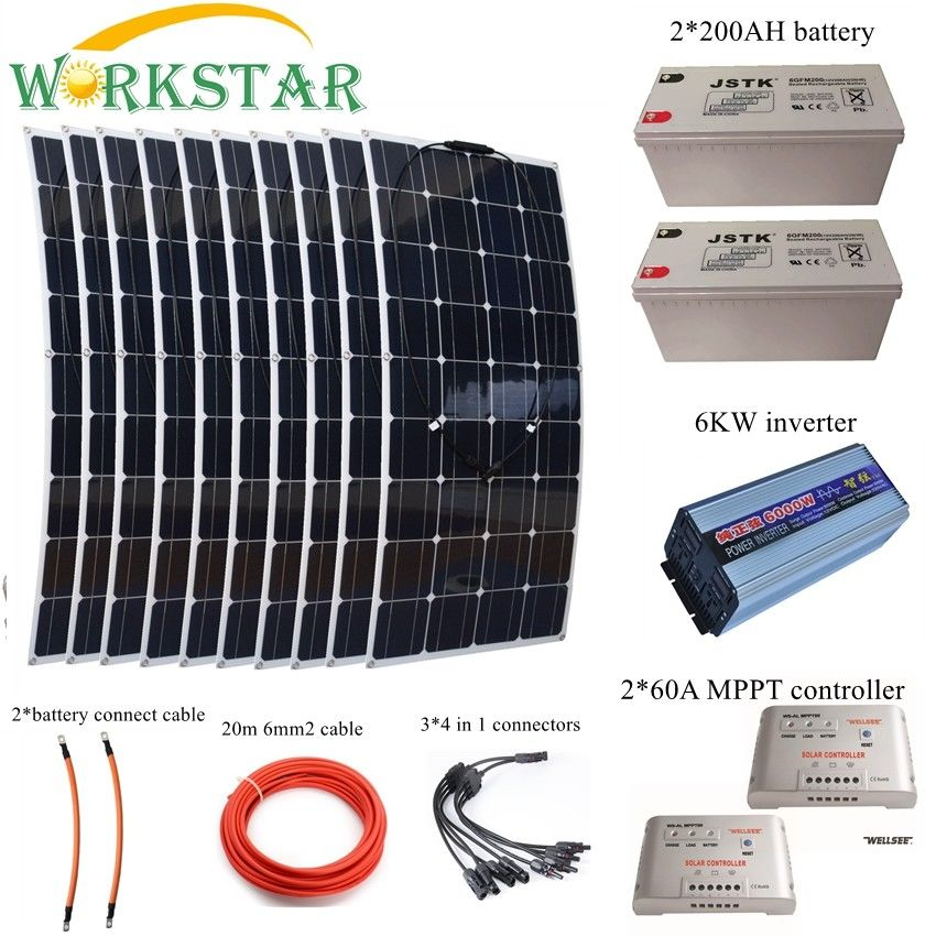 1000W Complete Solar System Kit Flexible Solar Modules with 6KW Inverter and 2*200AH Battery and 2*60A Controller semipotent rings and modules