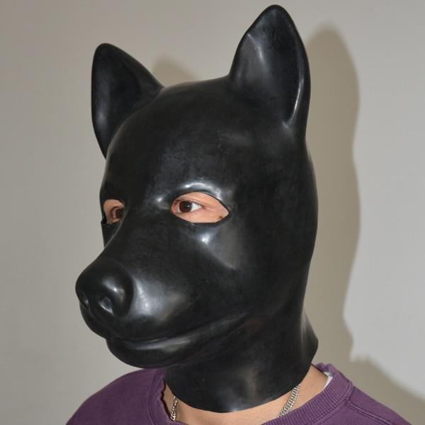 (LS02) fétiche Latex pleine tête latex cochon chien chat léopard loup cheval animal tête esclave masque en caoutchouc capuche SM masque étouffant