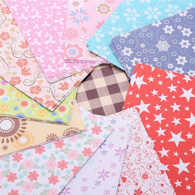 KiWarm 72 Sheets 15X15cm Mix Color Square Origami Folding Paper Flower Patterned Papers 12 Patterns DIY Paper Craft Kid Gift
