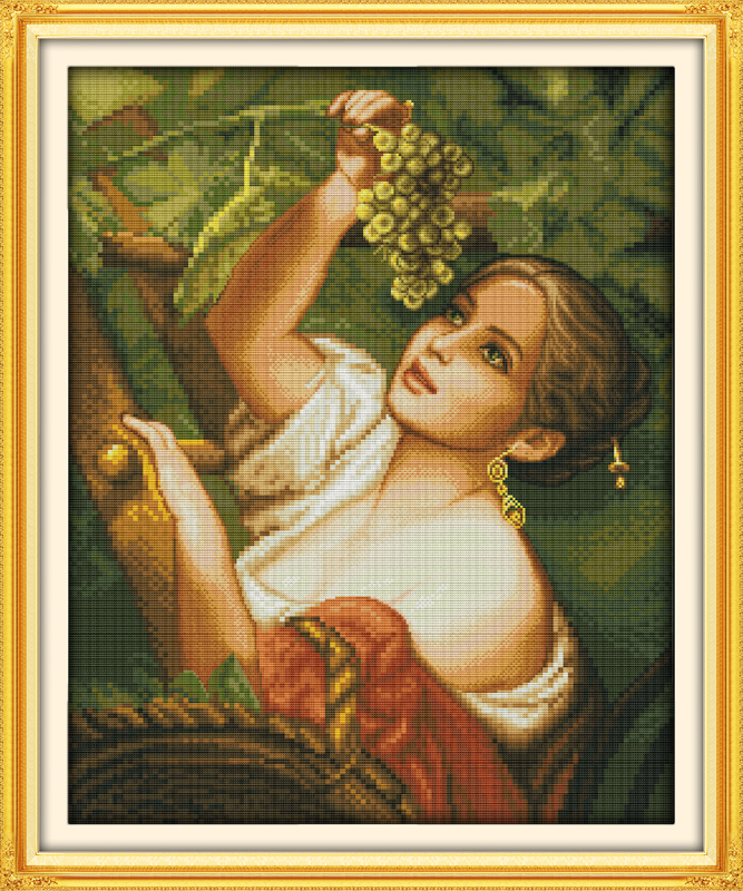 The plucking grapes girl Counted 11CT Print 14CT DMC Cross Stitch Set DIY Chinese Cotton Cross-stitch Kit Embroidery Needlework