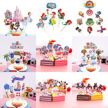 Baby Shower Birthday Party Avengers Theme Cake Topper Kids Favors Spiderman Decorate Mermaid Sofia Princess Cupcake Toppers 1Set(China)