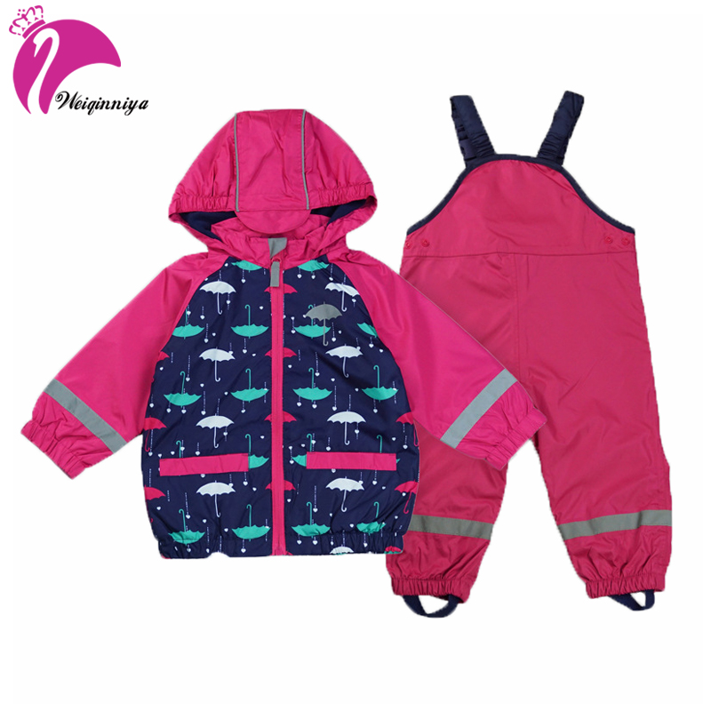 Kids Waterproof Windproof Suit For Girls Jacket+Overall 2pcs Children Raincoat Reflective Article Warm Polar Fleece Boys Clothes waterproof raincoat kids children boys long cute poncho lluvia mujer girls raincoat impermeable backpack rain cover ddg48y