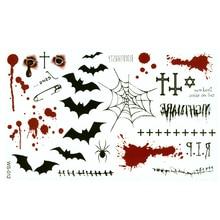 Temporary Tattoos Stickers Spider-Web Body-Art Halloween Paste Bat-Cross Bullet-Hole