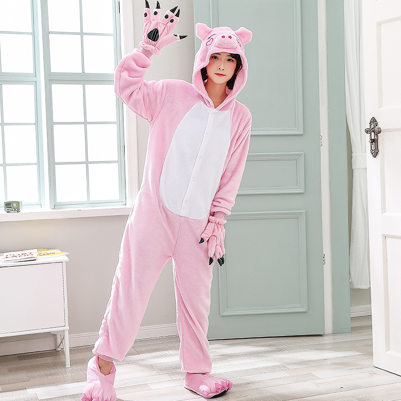 Cute Pink Pig Women Pajamas Onesies For Night-suit Set At Home Party Adult Kigurumi For Halloween Cosplay Siamese Costume   (2)