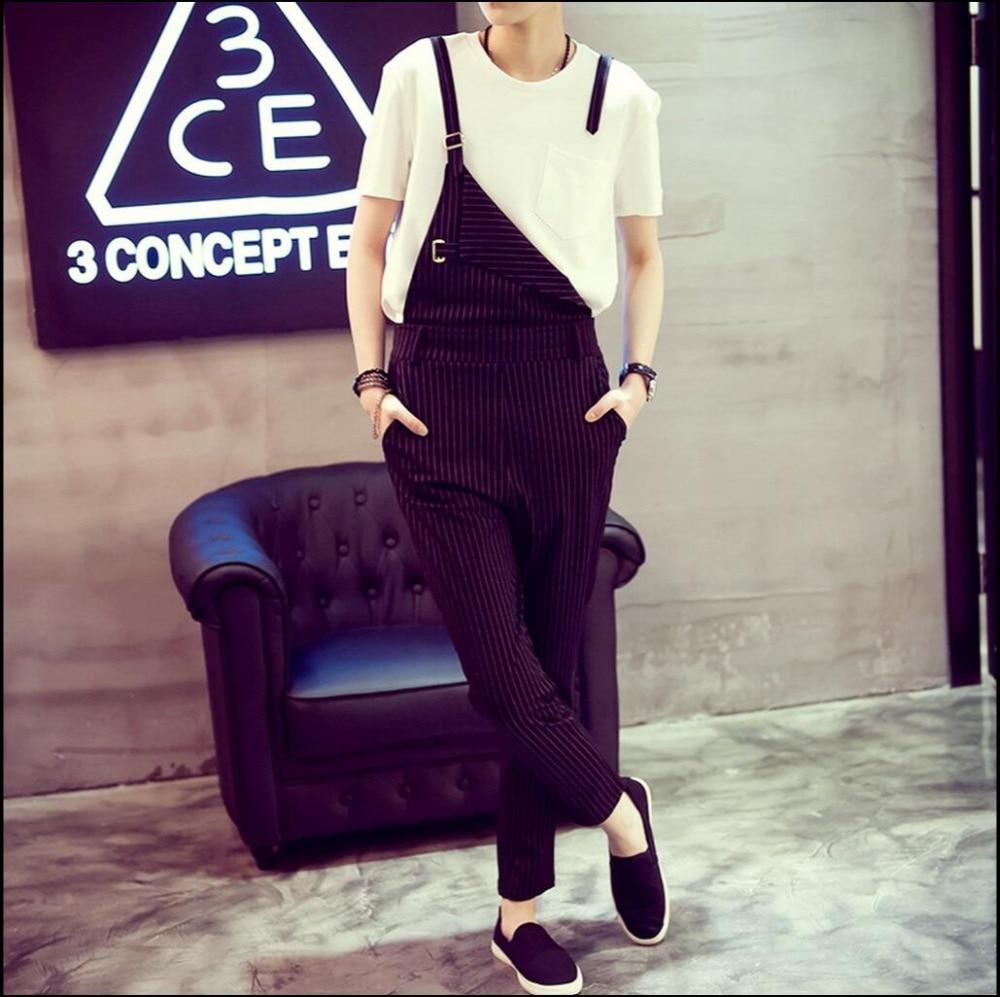 HOT Summer Mens clothing new black striped bib pants pantyhose fashion overalls slacks bib pants jumpsuit singer costumes