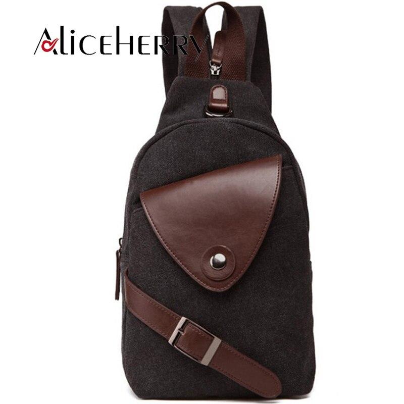Mens Canvas Chest Package Women Cross body Bag Shoulder Bags For Men Vintage Travel Back Pack