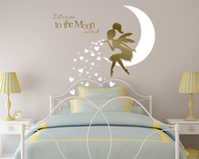 Fairy Blowing Hearts Wall Decal I Love You To The Moon And Back, Vinyl Sticker, Nursery Decoration N-43