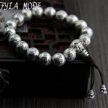 Fyla Mode Traditional 925 Silver Buddhism Thai Silver Bracelet Men Mantras Heart Sutra 12mm Beads Charms Bracelet Wholesale 64G