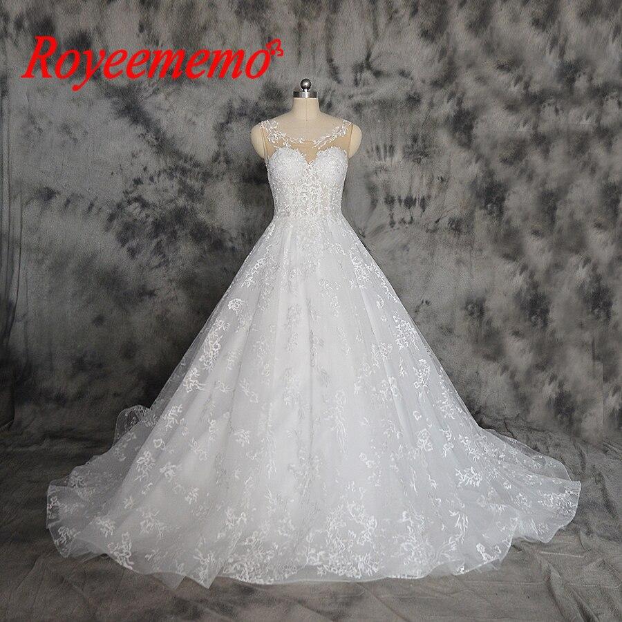 Vestido De Noiva Hot Sale Telanjang Tulle Seksi Atas Transparan Mewah Renda  Pernikahan Gaun Custom Made Gaun Pengantin Harga Grosir