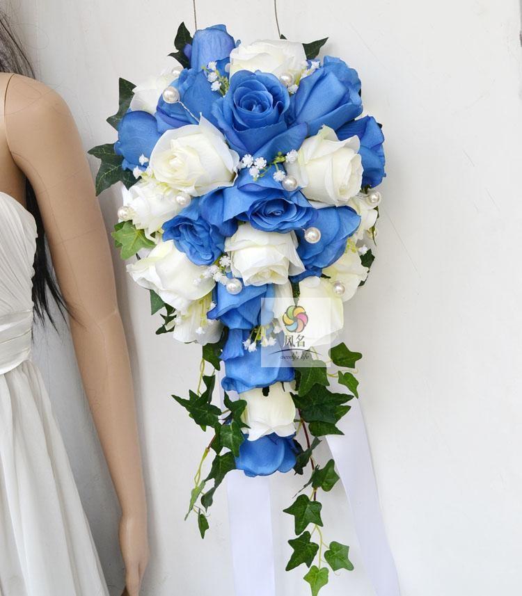 Blue white Waterfall Elegant Wedding Bouquets Artificial Bridal Brooch Bouquet Wedding Bouquet For Brides Bruidsboeket 2017 3