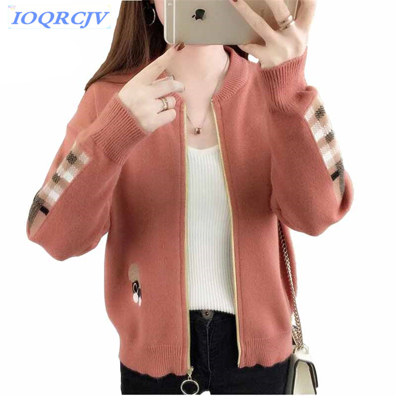 Knitted sweater cardigan short jacket women 2018 Spring autumn fashion zipper embroidery Plus size top students Short coats N129