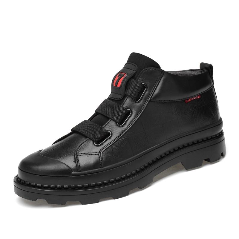 Clax Bottes Black Cuir Véritable De Mâle Marche Mens Boot Mode Automne Cheville Créateur Taille Grande En Chaussures Casual 5L4RjA