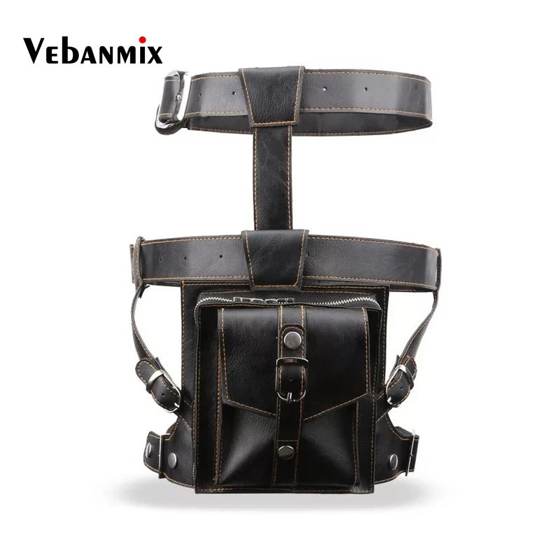 Fashion Men Tactical Leg Bag Drop Belt Shoulder Messenger Cross Body Hip Bum Waist Leg Bag Leather Men Fanny Pack Waist Bags
