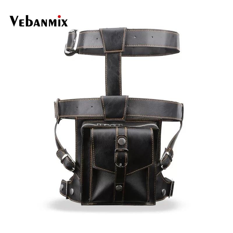 Fashion Men Tactical Leg Bag Drop Belt Shoulder Messenger Cross Body Hip Bum Waist Leg Bag Leather Men Fanny Pack Waist Bags