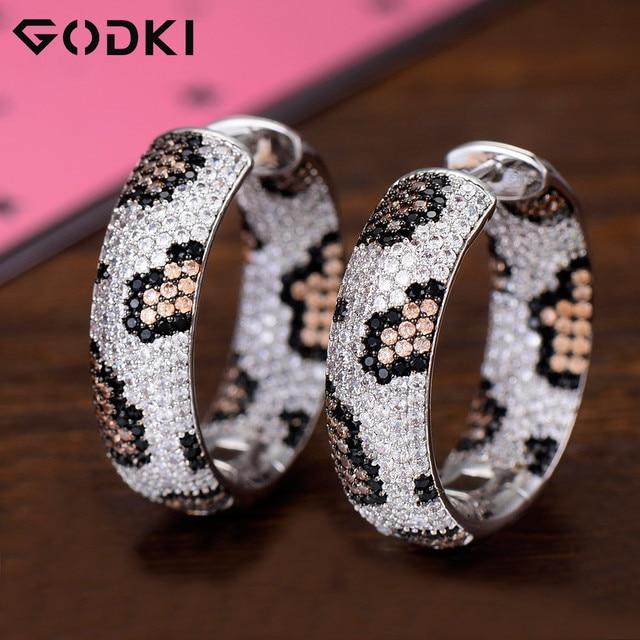 GODKI Luxury Leopard Design Cubic Zirconia Statement Hoop ต่างหูสำหรับงานแต่งงานดูไบต่างหูเครื่องประดับ 2019