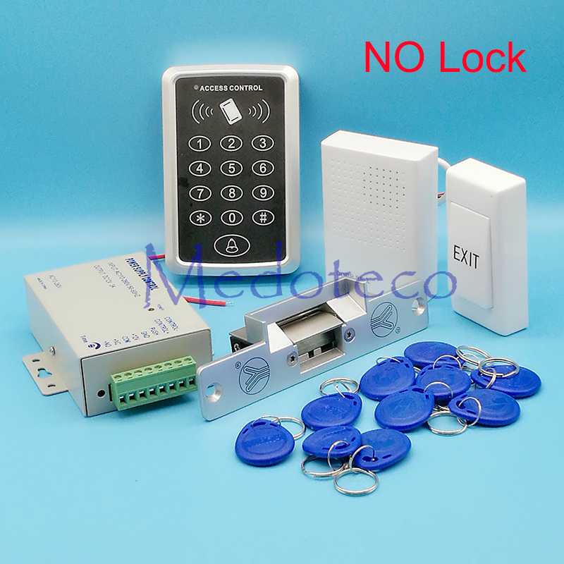 DIY Full RFID Door Access Control System Kit Set NO/NC Electric Strike Lock + 12V Power Supply + Proximity Door Entry keypad