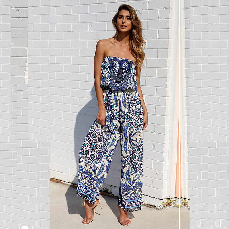 3f1a18b7896 2019 Women Jumpsuit Sexy Off Shoulder Summer Boho Beach Floral Print Long  Rompers Backless Loose Overalls