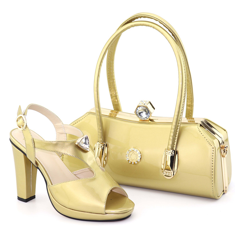 Latest African PU With Crystal Shoes And Bag To Match Set Italian Fashion Rhinestone High Heels Shoes And Bag Set For Party Latest African PU With Crystal Shoes And Bag To Match Set Italian Fashion Rhinestone High Heels Shoes And Bag Set For Party