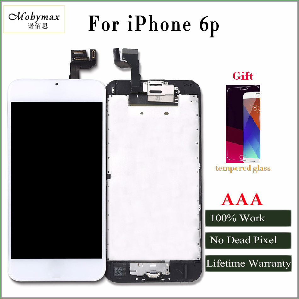 Moybmax AAA Quality LCD Display for iphone 6p Touch Screen Digitizer full Assembly with front camera Earspeaker +gifts