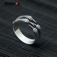 Genuine 100 925 Sterling Silver Vintage Punk Locomotive Eagle Claw Ring For Women Men Fashion Jewelry