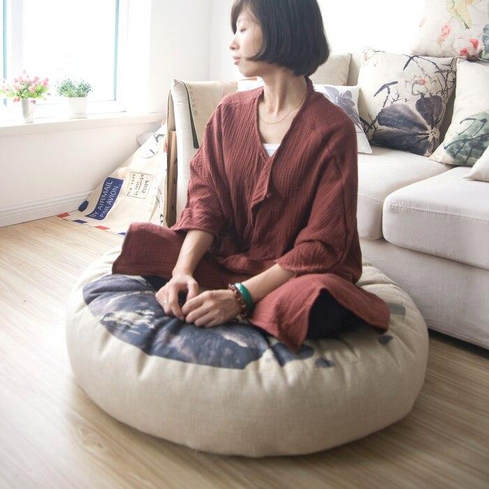 Encre de chine lotus Lotus coussin lin circulaire reine Futon coussin siège (épais) tatami tapis yoga méditation coussin 80*80*15 cm
