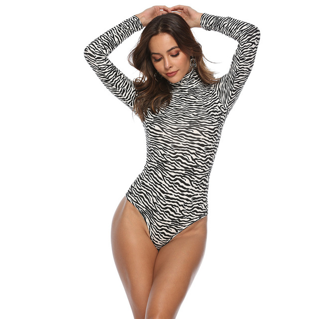EIFER Leopard Bodysuit for Women Sexy Bodycon Skinny Body Suit Turtleneck Long Sleeve Playsuit Printed Romper Jumpsuits 3