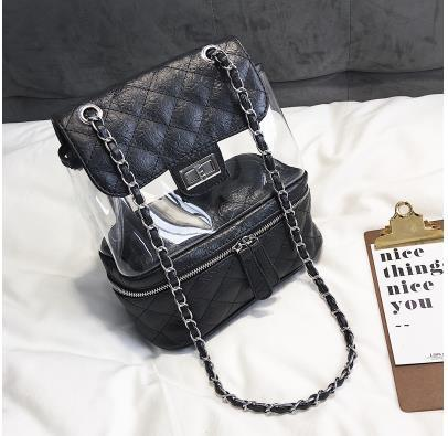 New Arrival Trend Design Pu Leather Stitching Pvc Transparent Lingge Chain Women's Buckle Backpack Travel Bag Shoulder Bag  by Enjoinin