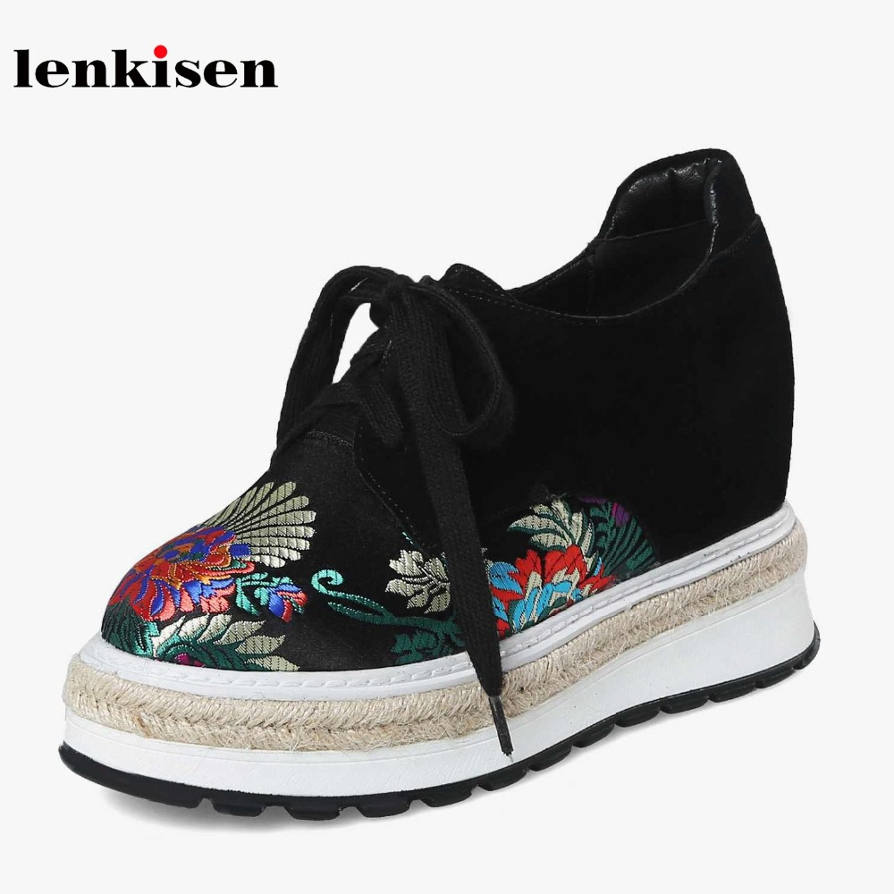 Lenkisen cow suede round toe lace up high heels oriental style causal shoes wedges classic high street fashion women pumps L54