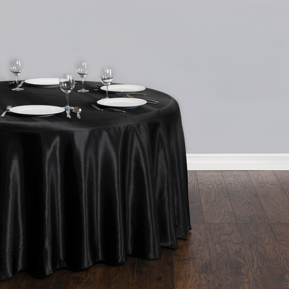 Free Shipping 10pcs Cheap Black 90 Round Satin Table Cloth Banquet Table Cover Wedding Table Linens