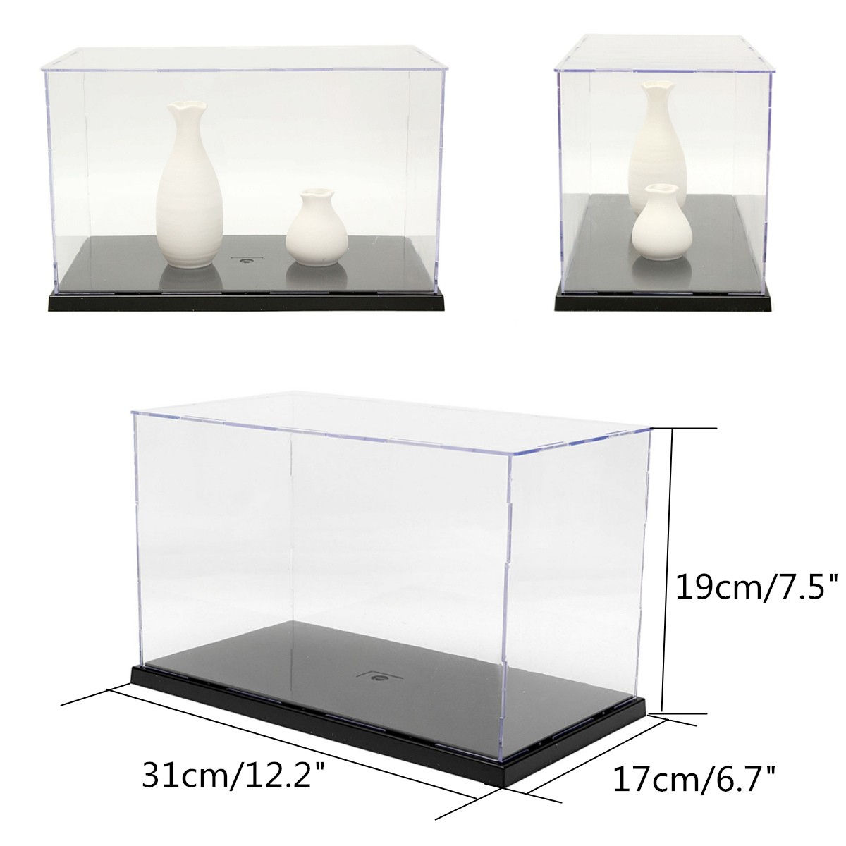 Plastic Acrylic Display Show Box Case Toy Dustproof Tray Protection Display Box Case 31*17*19cm For Children Blocks Toys Display 3 steps display case box dustproof showcase gray base acrylic plastic display box case 25 5x15 5x13 8cm 5 colors