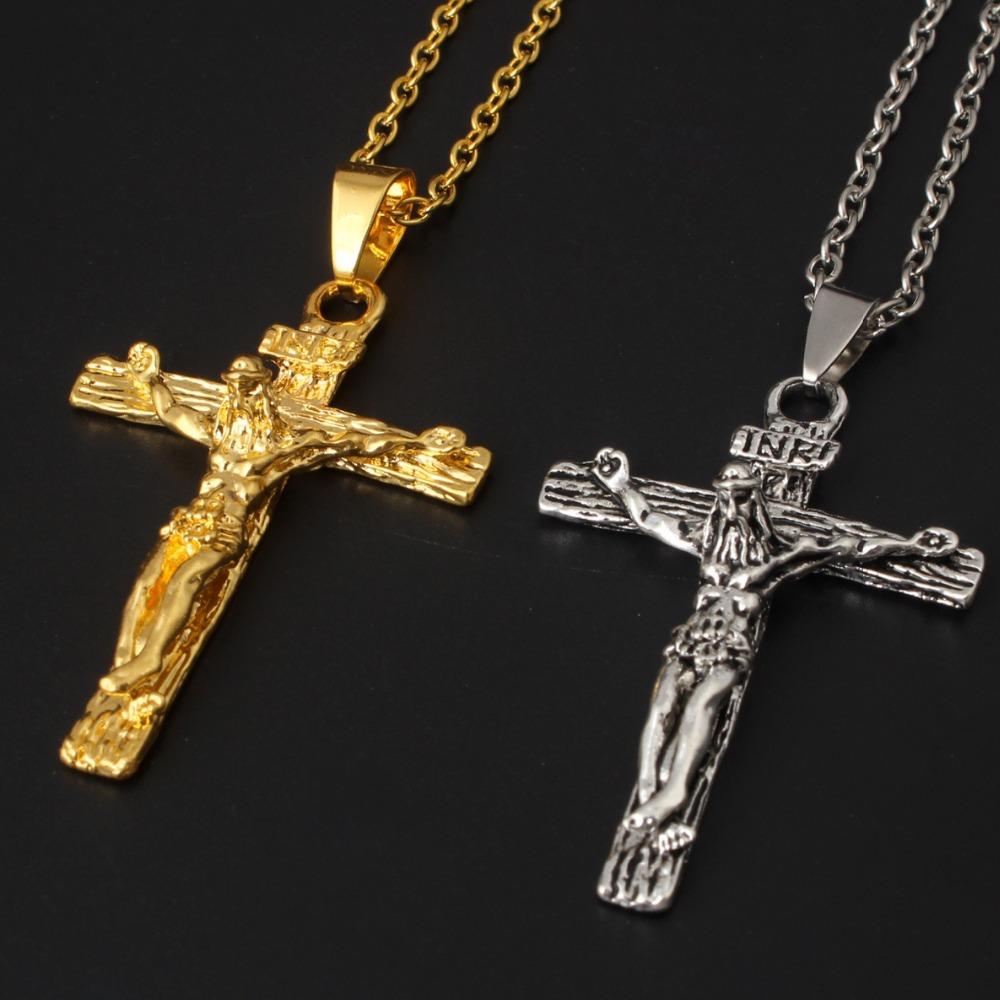 Negro Plata Oro Acero Inoxidable Cruz Crucifijo Collar Pendiente Joyas Regalo