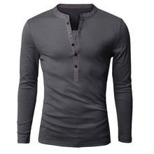Einzigartige t-shirt Männer Marke Einreiher V-ausschnitt Langarm Henley Hemd European Fashion Dunkelgrau T-shirt Männer T-shirt XXL