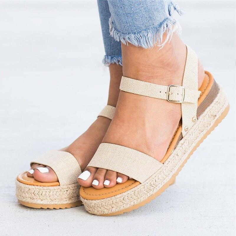 Platform Sandals Wedges-Shoes Flip-Flops Women Heels Femme Casual with Summer Chaussures