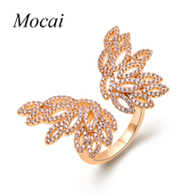 Mocai Exaggerated Luxury AAA Cubic Zirconia Hollow Big Butterfly Wings Rings Gold Leaves Ring Brand Jewelry For Women Party ZK30