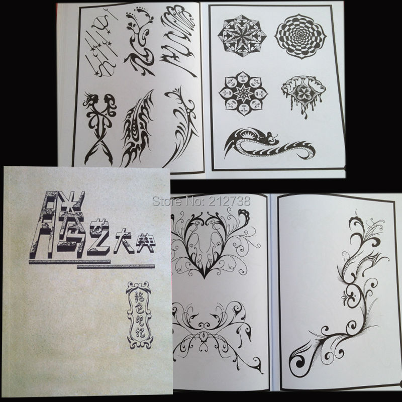 Free shipping 2014 new Mysterious symbols Fantasy Totem Dragon Phoenix Tattoo Flsh Book Sketch