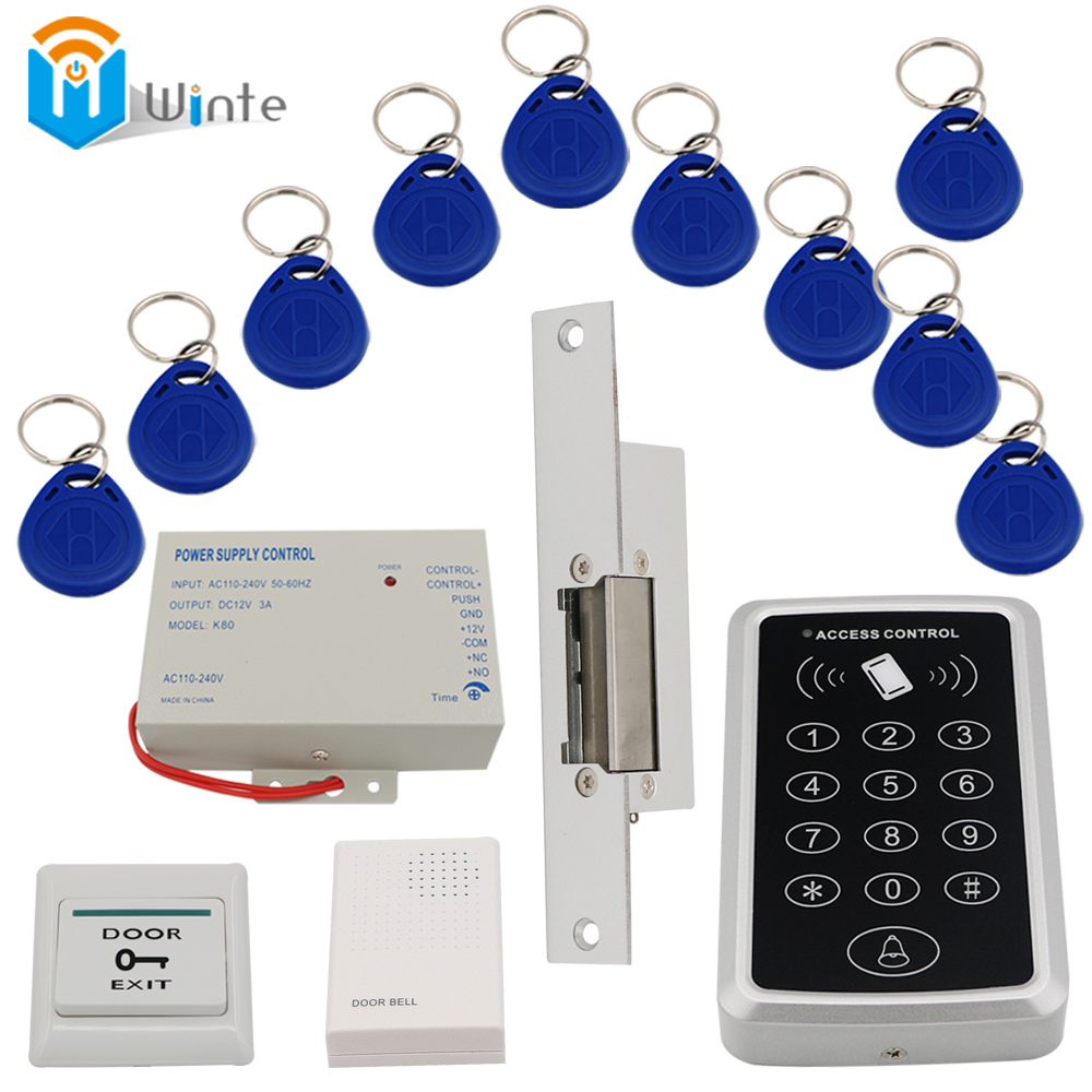 Access Control System RFID card reader access +3A/12V power supply+electric strike lock+10pcs ID key cards switch DouWin 4pcs 12v 1a cctv system power dc switch power supply adapter for cctv system
