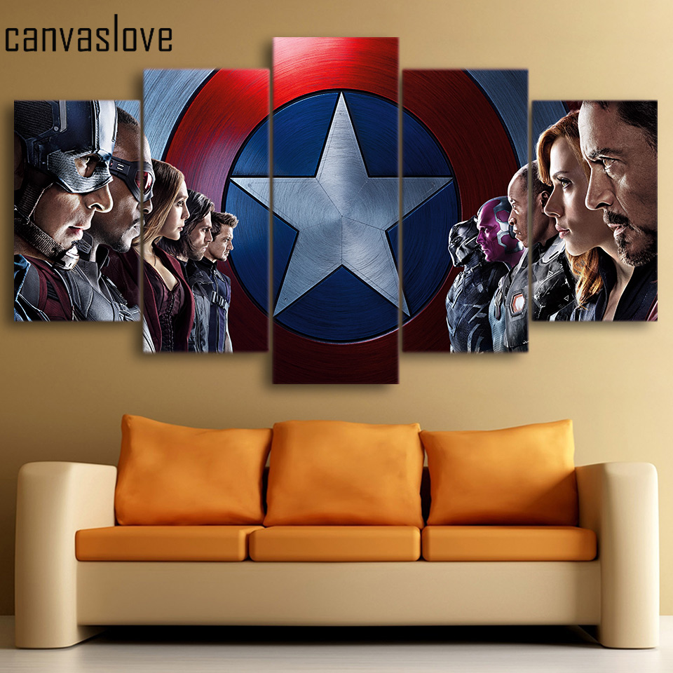 CanvasLove 5 Pieces Canvas Paintings Captain America Civil War Wall Art Canvas Paintings Home Decor For Living Room ny-4211