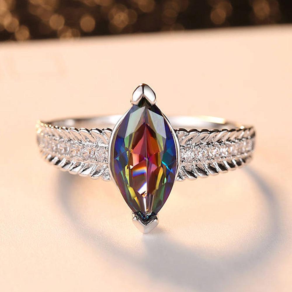 Adjustable Silver Water Drop Zircon Stones Ring For Women Wedding Jewelry