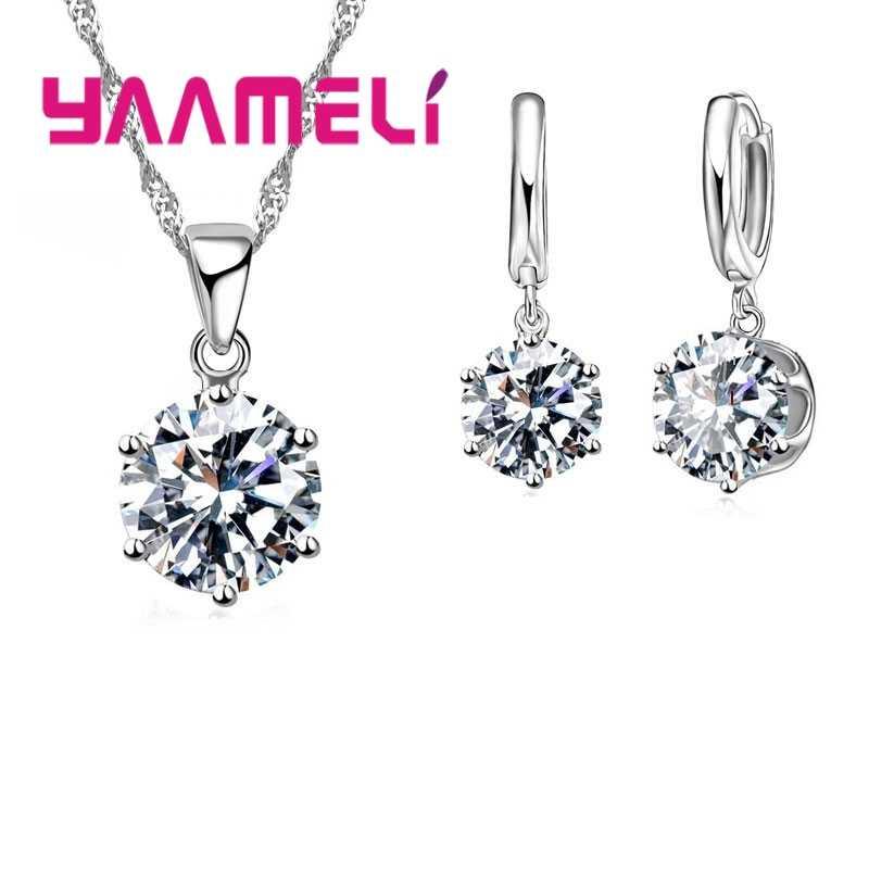 Top Qualität 925 Sterling Silber Klar Runde Kristalle Schmuck Sets Halskette & Ohrringe Set Für Party Frauen Geschenke