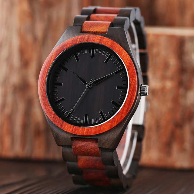 4feba8640a0 100% Relógios Homem Esporte Criativo Pulseira Analógico de Bambu Natural De Madeira  relógio de Pulso