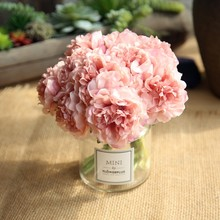 NEW 5Pcs/Lot Artificial Hydrangea peony Silk Flowers Decoration for Wedding Party Banquet Home Decorative