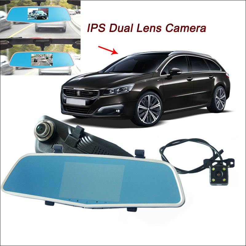 BigBigRoad For peugeot 406 407 508 2008 3008 Car DVR Rearview Mirror Video Recorder Dual Camera 5 inch IPS Screen dash camera цена