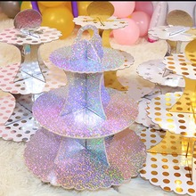 New Arrival Cake Stand 3 Tier Cupcake Paperboard Solid Stands DIY Display Foy Baby Birthday Party