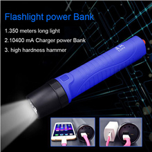 USB power Bank CREE XP-G2 R5 Led built-in battery 10400 mAh flashlight Diving light outdoor IPX-8 waterproof Car safety hammer