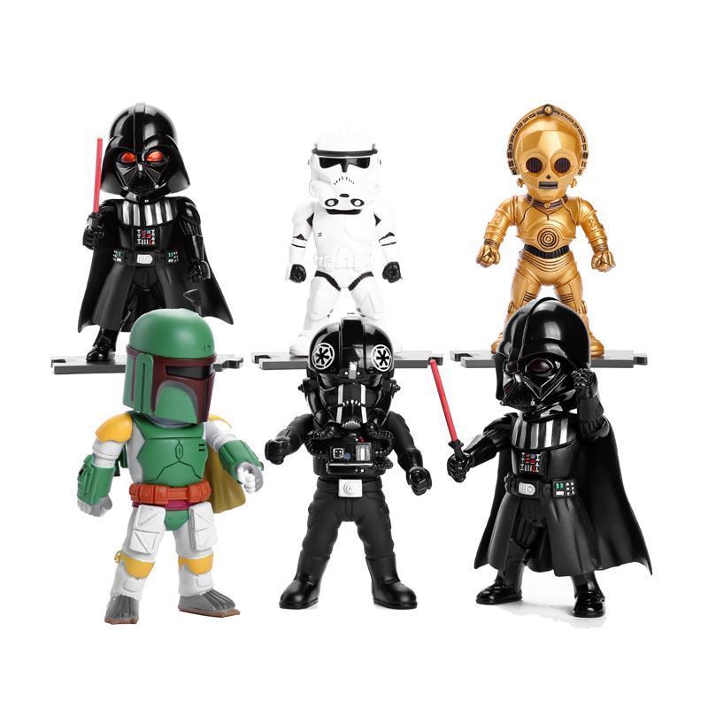 ФОТО Star Wars Light & Action Function Storm Trooper Boba Fett Darth Vader Clone Trooper C-3P0 6pcs/set SWFG046
