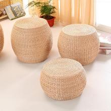 Taburete de madera Natural hecho a mano Tatami redondo para salón, pequeño banco de madera para mesa de centro